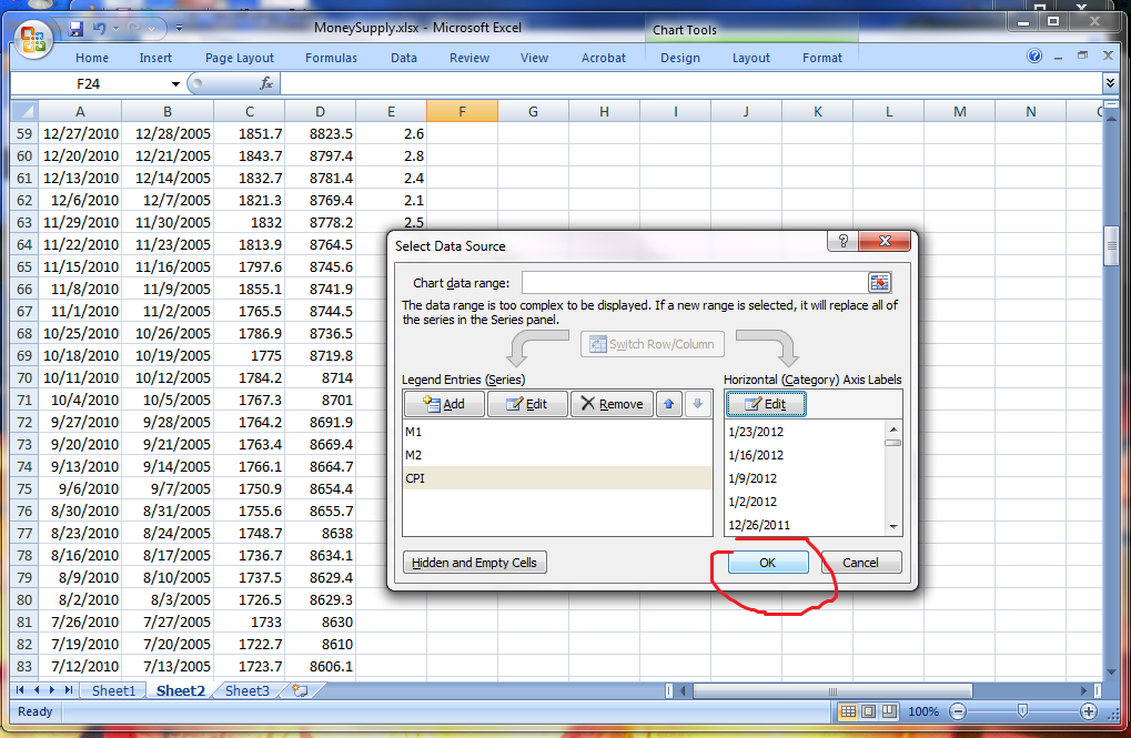 how to create a secondary horizontal axis in excel 2010