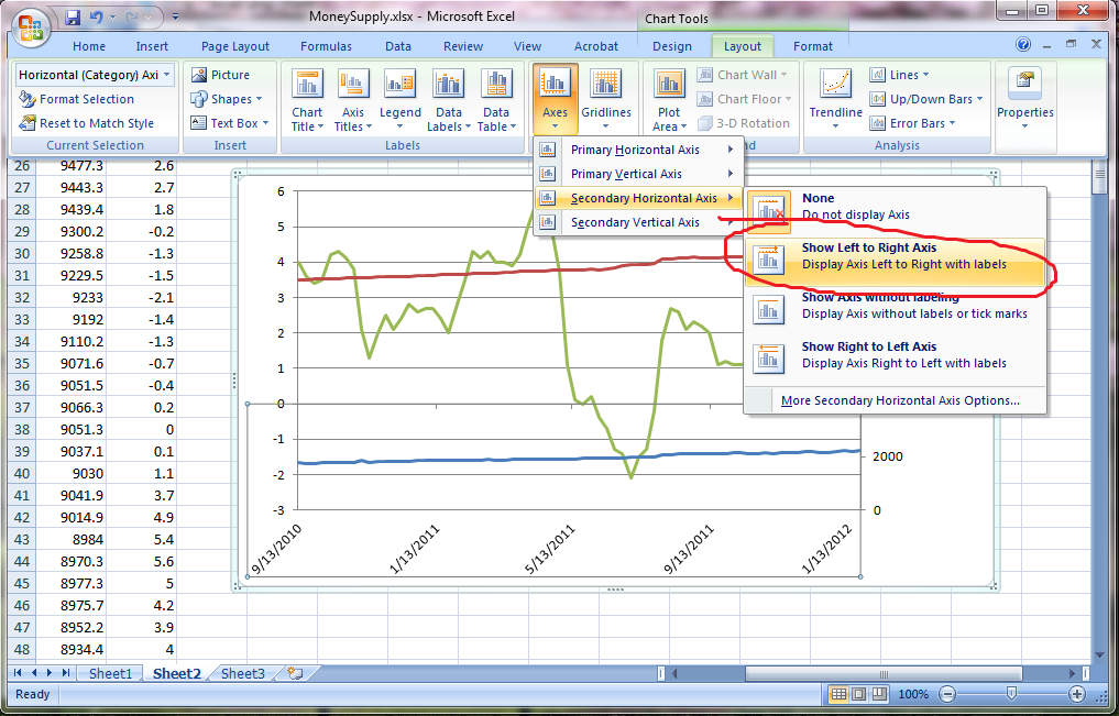 dual x axis chart with excel 2007  2010